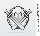 helmet and swords logo | Shutterstock .eps vector #497493220