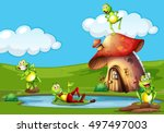 frogs around a mushroom house | Shutterstock .eps vector #497497003