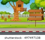 treehouse and signs in the park ... | Shutterstock .eps vector #497497138