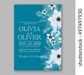 poinsettia wedding invitation... | Shutterstock .eps vector #497497930