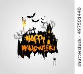 halloween vector design with... | Shutterstock .eps vector #497501440