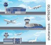airport building set with... | Shutterstock .eps vector #497505730