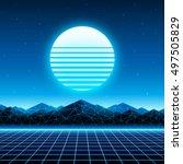 retro futuristic background... | Shutterstock .eps vector #497505829
