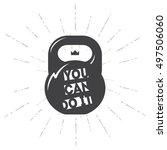 one black kettlebell on white... | Shutterstock .eps vector #497506060
