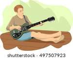 girl playing the guitar | Shutterstock . vector #497507923
