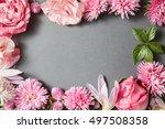 beautiful pink flowers frame | Shutterstock . vector #497508358