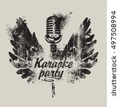 banner karaoke party with a... | Shutterstock .eps vector #497508994