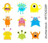 monster big set. cute cartoon... | Shutterstock . vector #497520289