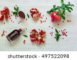 pomegranate on a branch with... | Shutterstock . vector #497522098