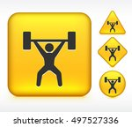 weight lifter on yellow multi... | Shutterstock .eps vector #497527336