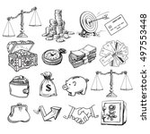 big business set. scales  stack ... | Shutterstock .eps vector #497553448
