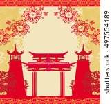 abstract card with asian... | Shutterstock . vector #497554189