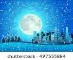 snow pixel art night city card. ...