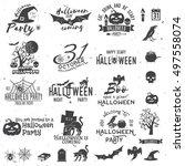 set of halloween party concept... | Shutterstock . vector #497558074
