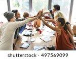 teamwork power successful... | Shutterstock . vector #497569099