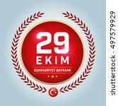 republic of turkey national... | Shutterstock .eps vector #497579929