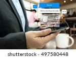 chat bot and future marketing... | Shutterstock . vector #497580448