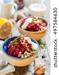beet salad with nuts  herbs and ... | Shutterstock . vector #497584630