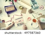 shopping internet digital... | Shutterstock . vector #497587360