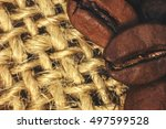 coffee beans closeup on natural ... | Shutterstock . vector #497599528