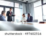 mature businessman discussing... | Shutterstock . vector #497602516