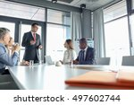 mature businessman discussing... | Shutterstock . vector #497602744