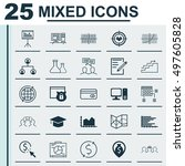 set of 25 universal icons on... | Shutterstock .eps vector #497605828
