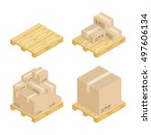 set isometric cardboard boxes... | Shutterstock .eps vector #497606134