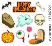 halloween  patch badges... | Shutterstock .eps vector #497607004