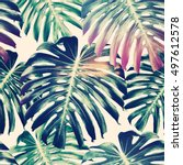 tropical jungle leaves ... | Shutterstock . vector #497612578
