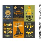 set of happy halloween greeting ... | Shutterstock .eps vector #497620378