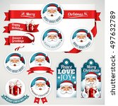 vector set of vintage christmas ...   Shutterstock .eps vector #497632789