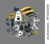 happy halloween illustration ... | Shutterstock .eps vector #497633650
