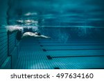 underwater shot of male swimmer ...   Shutterstock . vector #497634160