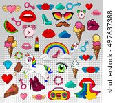 vector set of stickers badges... | Shutterstock .eps vector #497637388