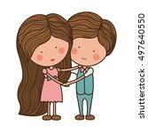 embraced couple in love with... | Shutterstock .eps vector #497640550