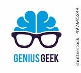 genius brain geek logo icon... | Shutterstock .eps vector #497645344
