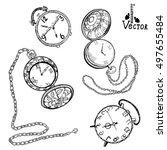 watch set. hand drawn vintage...   Shutterstock .eps vector #497655484