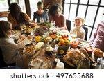 people celebrating thanksgiving ... | Shutterstock . vector #497655688