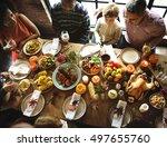 people celebrating thanksgiving ... | Shutterstock . vector #497655760