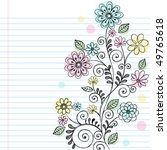 Hand Drawn Flowers  Leaves  An...