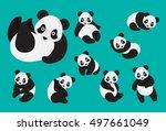 set of cute cartoon panda in... | Shutterstock .eps vector #497661049
