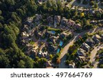 Aerial view of a residential housing area in Greater Vancouver, British Columbia, Canada. - stock photo