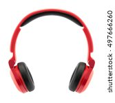 red headphone on white back... | Shutterstock . vector #497666260