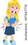 little girl cartoon touching... | Shutterstock .eps vector #497667778