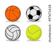sports ball set. basketball and ... | Shutterstock .eps vector #497671618