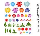 gorodets painting set of... | Shutterstock .eps vector #497671690