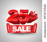 25 percent off sale red ribbon... | Shutterstock .eps vector #497672560