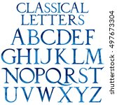 classical blue watercolor font... | Shutterstock .eps vector #497673304