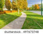 curved sidewalk  path  trail at ... | Shutterstock . vector #497673748
